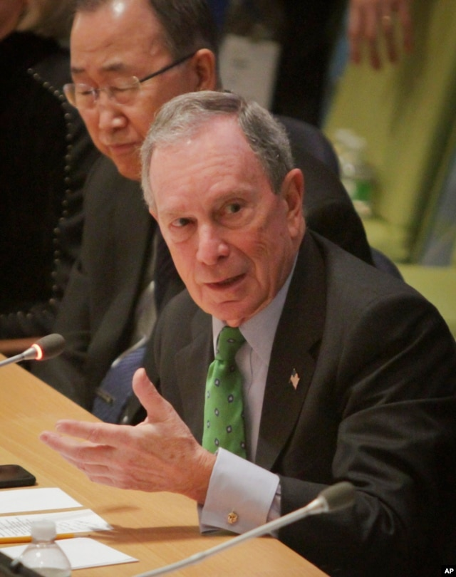 United Nations Secretary-General Ban Ki-moon, left, listens as former New York mayor Michael Bloomberg speaks during the biennial Investor Summit on Climate Risk on Jan. 27, 2016, at U.N. headquarters.