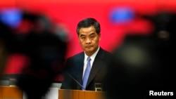 香港特首梁振英7月15日在香港举行的记者招待会上