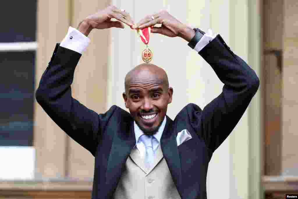 British distance runner Mo Farah received his knighthood from Queen Elizabeth at Buckingham Palace, London.