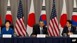 Từ trái sang phải: Tổng thống Nam Triều Tiên Park Geun-hye, Tổng thống Mỹ Barack Obama và Thủ tướng Nhật Shinzo Abe tại hội nghị thượng đỉnh an ninh hạt nhân ở Washington ngày 31/3/2016.