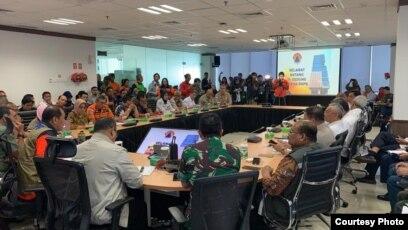 Rapat BNPB di Jakarta membahas penanganan bencana banjir di Jabodetabek (courtesy: BNPB).