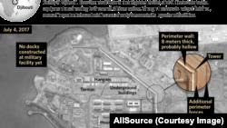 2017年7月7日發布的衛星圖像顯示,中國位於吉布提的首個海外軍事基地比外界先前所認為的更大,戒備更嚴密。