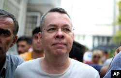 FILE - Andrew Craig Brunson, an evangelical pastor from Black Mountain, North Carolina, arrives at his house in Izmir, Turkey, July 25, 2018.
