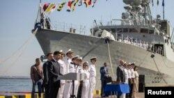 Президент Украины Владимир Зеленский на праздновании Дня флота в Одессе в рамках учений «СиБриз»в 2019 г.