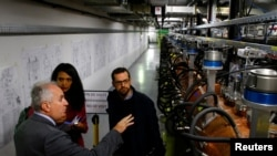during its inauguration at the European Organization for Nuclear Research (CERN) in Meyrin near Geneva, Switzerland, M
