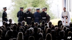 The casket carrying Nancy Reagan arrives for her funeral at the Ronald Reagan Presidential Library in Simi Valley, California, March 11, 2016.