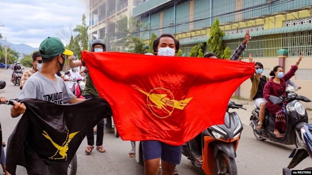 Biểu tình chống quân phiệt ở Mandalay, Myanmar, tháng Bảy, 2021.