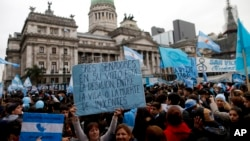 Demonstrators against the decriminalization of abortion gather outside Congress in Buenos Aires, Argentina, Aug. 8, 2018.
