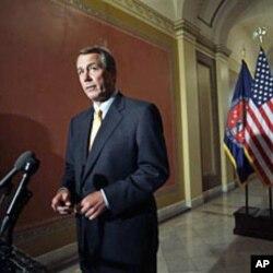 kakakin majalisar wakilan Amurka John Boehner na jam'iyyar Republican a yayin wata tattaunawa da manema labarai akan kasafin kudin Amurka da kuma maganar samar da ayyukan yi a kasar