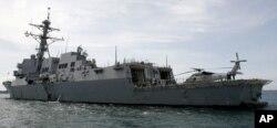 """美国海军""""马斯汀""""DDG-89号导弹驱逐舰(资料照)。该军舰2018年7月上旬穿越台湾海峡。"""