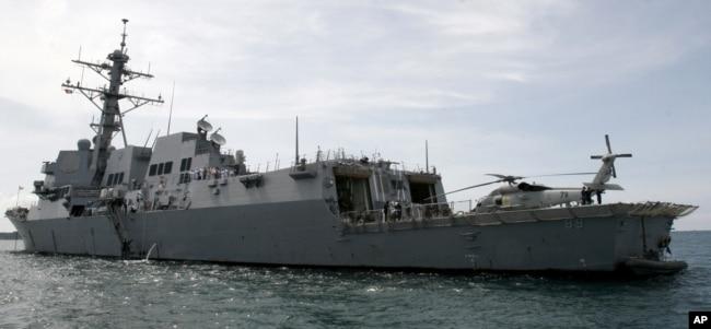 """美國海軍""""馬斯汀""""DDG-89號導彈驅逐艦(資料照)。 該軍艦2018年7月上旬穿越台灣海峽。"""