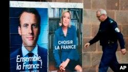 រូបថតផ្លូវការនៃបេក្ខជនទាំងពីរសម្រាប់ការបោះឆ្នោតបារាំងឆ្នាំ២០១៧ គឺលោក Emmanuel Macron និងលោកស្រី Marine Le Pen។