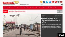 Capture d'écran du site internet ougandais New Vision, le 21 décembre 2016.