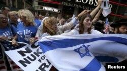 مخالفان توافق اتمی در یک تظاهرات در نیویورک