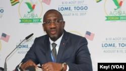 Le ministre ivoirien du commerce, Souleymane Diarrassouba, à la cérémonie de clôture de la 16eme conférence de l'Agoa à Lomé, Togo, 10 août 2017. (VOA/Kayi Lawson)