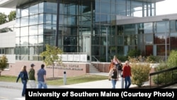 Students walk on campus at the University of Southern Maine