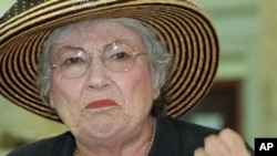 Former U.S. Rep. Bella Abzug at a news conference where she called on lawmakers to heed the links between pollution and health problems at the Statehouse in Trenton, N.J.