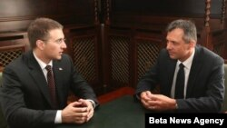 Predsednici skupština Srbije i Republike Srpske Nebojsa Stefanović i Igor Radojičić razgovaraju u Beogradu, 13. avgusta 2012.