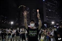 Una vigilia en Hong Kong el 4 de junio de 2020 en recordación a las víctimas de la matanza de la plaza de Tiananmen.