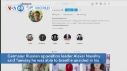 VOA60 Addunyaa - Russian opposition leader Alexei Navalny was able to breathe unaided in his first public comments