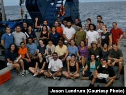 Scientific crew of RV Atlantis that found the ocean reef off Brazil's coast. July 2012 (Credit Jason Landrum).