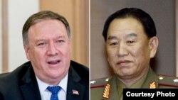 폼페오 미국 국무장관과 김영철 북한 노동당 부위원장.
