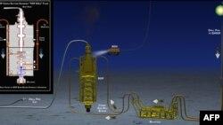 """Sơ đồ phương pháp """"Top kill"""" nhằm ngăn chặn dòng chảy của dầu từ một giàn khoan bị chìm ở Vịnh Mexico"""