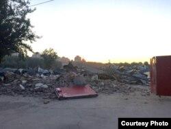 图为该台商企业遭强拆后的外景。 (環宇兴业提供)