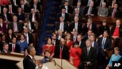 星期三晚上,奥巴马总统在国会山发表国情咨文演讲。