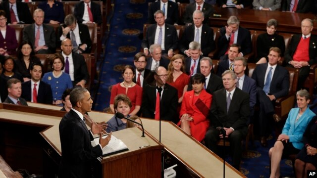 President Barack Obama gives his State of the Union address before a joint session of Congress on Capitol Hill in Washington, Jan. 12, 2016.