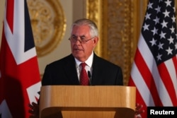 U.S. Secretary of State Rex Tillerson speaks during a news conference at Lancaster house in London, Britain, Sept. 14, 2017.