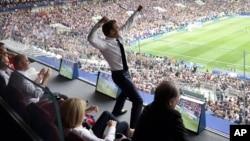Phản ứng của Tổng thống Pháp Emmanuel Macron trong trận chung kết World Cup hôm 15/7.