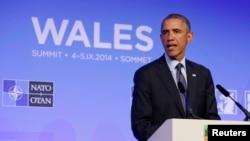 奥巴马总统在北约峰会结束后在威尔斯举行记者会