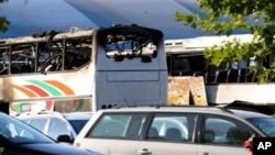 The aftermath of a suicide bomb in Bulgaria.