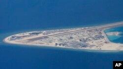 南中國海的人造島礁渚碧礁(資料照片)