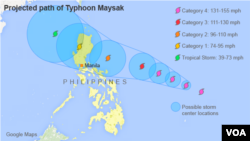 Projected path of Typhoon Maysak