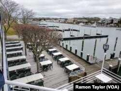The Flying Bridge in Falmouth, Massachusetts, hosts waterfront banquets and special events during the tourist season. During the offseason, it remains closed.