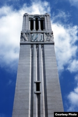 A picture of the Memorial Belltower at North Carolina State University in Raleigh, North Carolina.