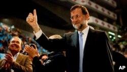 拉霍伊11月17日在西班牙选举前的最后竞选会议上