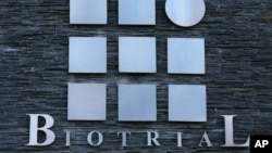 A logo of the Biotrial laboratory is displayed on its building in Rennes, western France, Jan. 15, 2016.