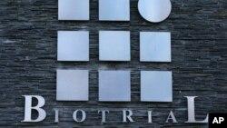Logo của phòng thí nghiệm Biotrial trên một tòa nhà ở thành phố Rennes, miền tây của Pháp, ngày 15 tháng 1, 2016.