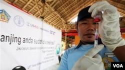 Petugas kesehatan hewan mempersiapkan vaksin untuk menyuntik anjing dalam kampanye hari rabies sedunia di Denpasar, Bali (28/9).
