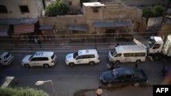 2016年6月10日联合国援助车队进入大马士革
