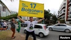 Apoiante do candidato Jair Bolsonaro, Rio de Janeiro, Brasil, 4 Outubro, 2018.