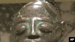 "A sculpture from the exhibit ""Dynasty and Divinity: Ife Art in Ancient Nigeria"", on display in Houston, Texas"