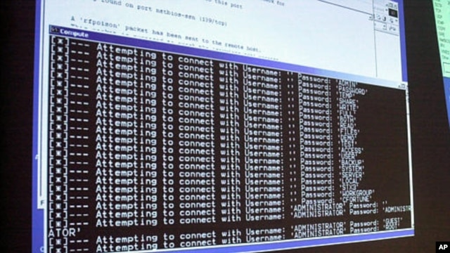 A computer screen shows a password attack in progress at computer security training program in Northfield, Vermont (undated.)