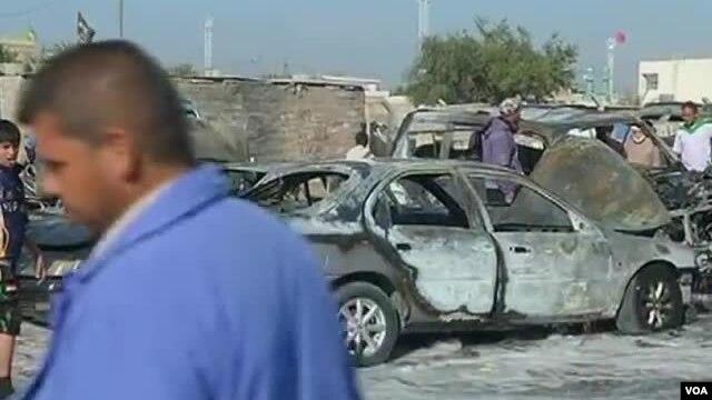 Hiện trường sau một vụ nổ bom ở Iraq.