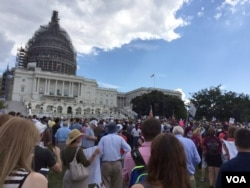 Supporters wait for a rally against the Iran Nuclear deal to begin Wednesday, Sept. 9, 2015. Presidential candidates Sen. Ted Cruz and Donald Trump spoke at the rally, along with Sarah Palin.