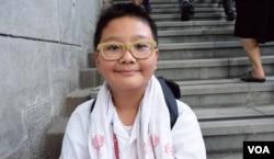 10歲的小學生胡同學。 (美國之音湯惠芸)