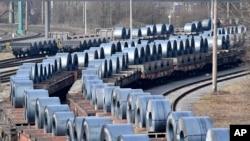 德國正待出口的鋼鐵材料。